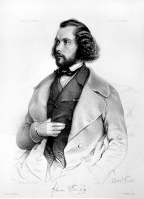 1845 ca, FRANCE: The celebrated french music Opera composer FELICIEN DAVID (1810 1876), portrait engraving by painter August Prinzhofer (1816-885). David wrote a number of operas of which the most notable are Christophe Colomb (1847), La perle du Brésil (1851), Herculanum (1859) and Lalla-Roukh (1862). Amongst his oratorios are Moïse au Sinaï (Moses on Sinai) (1846), and Eden (1848).