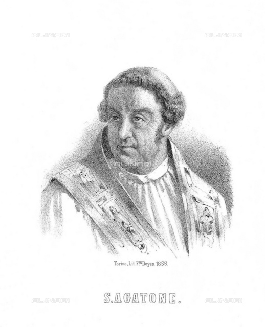 1859, ROMA, ITALY: The Pope Saint AGATONE (575 681 AD), portrait engraved by Doyen, Torino, Italy, 1859. Served as the Pope from 26 June 678 until his death in 681. He is venerated as a saint by both the Roman Catholic and Eastern Orthodox Churches