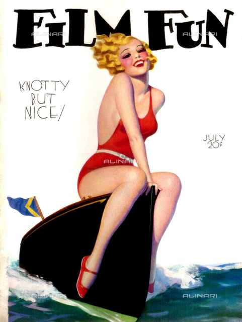 1933, USA: Cover of US magazine FILM FUN Vol. 58 n. 531, july 1933, KNOTTY BUT NICE illustration of a woman at beach in swimsuit, smiling sitting on the bow of a speedboat