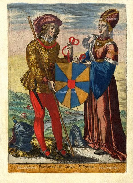 1080 ca, FLANDERS: BALDWIN VI De MONS (c. 1030 1070), di Baudouin Le Bon, with his wife Richilde, Countess of Mons and Hainaut (c.1018 1086), 8Th Count of Flandres. He was the ruling count of Hainaut from 1051 to 1070 (as Baldwin I) and Count of Flanders from 1067 to 1070. Antique print originates from book ' Quatriesme Tome Due Mercure François, Ou Les Memoires De La Suitte De L'Histoire De Nostre Temps, Sous Le Regne Du Tres Chrestien Roy De France Et De Navarre Louis XII I. 1615-1617 ', published by Estienne Richer, Paris ca. 1615. Artists and Engravers of illustration Estienne Richer