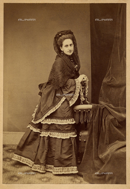 """1872, BOLOGNA, ITALY: CAROLINA"""" Lina"""" CRISTOFORI PIVA (1837-1881), married with Maggiore Generale Domenico Piva. Carolina was the lover of celebrated italian poet Giosué CARDUCCI (1835-1907), NOBEL Prize for the Literature in 1906. Caronina was the model for the caracter of"""" Lidia"""" in poems ODI BARBARE (1877). He completed his studies in Verona and then perfect them in Milan where married Piva. The passionate love affair between Giosuè and Lina spent between 1872 and 1878, marked by a conspicuous correspondence of 578 letters from Carducci. She died in Bologna assisted by Carducci, who prortrayed Lina in PRIMAVERE ELLENICHE (1872)"""