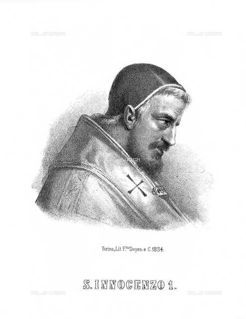 417 AC ca, ROMA, ITALY: The Pope INNOCENZO I (378-417). Portrait engraved by Flli. Doyen Co., Torino, 1854. Was Pope from 21 december 401 AC to his death. Was the 40Th Pope of the Catholic Church. Innocent was a native of Albano Laziale and the son of a man called Innocentius but his contemporary Girolamo referred to him as the son of the previous pope, Anastasius I, probably a unique case of a son succeeding his father in the papacy