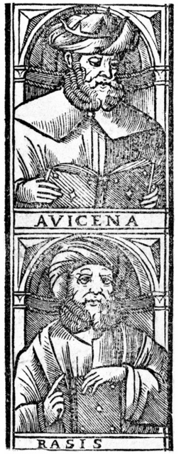 "Portrait of persian AVICENNA (Ibn Sina, c.980 1037). Avicenna and Rhasiz (Rasis, Rhazes, 865 930 ac or ce), engraving on the title page of book"" Praesens maximus codex est totius scientiae medicinae.."", published in 1523. Besides philosophy and medicine, Avicenna's corpus includes writings on astronomy, alchemy, geography and geology, psychology, Islamic theology, logic, mathematics, physics and poetry"