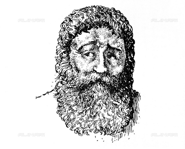 """1925, GREAT BRITAIN: The greek GALENO di Pergamo (129-201), fantasy portrait engraved in 1925 from T. L. Poulton (from the original and only ancient representation of Galen in a,d, 487 ca codex named Juliana anicia Manuscript) for the book"""" The evolution of anatomy"""" by Charles Joseph Singer. Was physician, surgeon and philosopher in the Roman Empire at time of Emperors Antonino and Commodo"""
