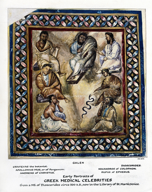 1925, GREAT BRITAIN: The greek GALENO di Pergamo (129-201), fantasy portrait from Manuscript of DISCORIDES (500 ad ca) in the Library of St. Mark Cathidral (Venice, Italy) with physicians and botanists of the Classical world like CRATEVAS (botanist), APOLLONIUS OF PERGAMUM, ANDREAS OF CARYSTUS, DISCORIDES, NIKANDROS OF COLOPHON and RUFUS OF EPHESUS. Watercolour painting.Was physician, surgeon and philosopher in the Roman Empire at time of Emperors Antonino and Commodo