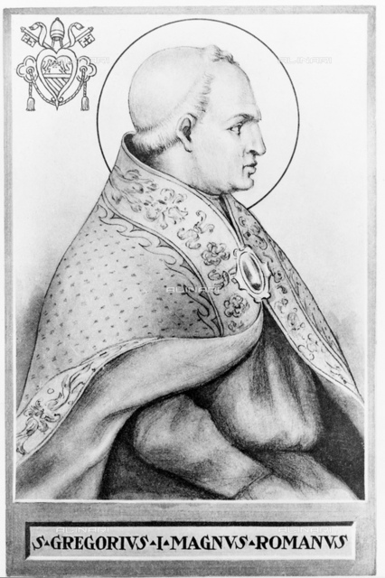 604 A.C. ca, ROMA, ITALY: The Pope GREGORIO I Magno (540 ca 604). Was the 64th Pope, from 590 to his death. He succeeded Pope Pelagius II and in turn was succeeded by Pope Sabiniano. Gregory was born into a wealthy patrician Roman family with close connections to the church. His father, Gordianus, who served as a senator and for a time was the Prefect of the City of Rome, his mother was Saint Silvia. Gregory's great-great-grandfather had been Pope Felix III the nominee of the Gothic king Theodoric.