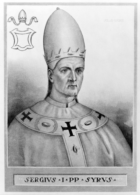 """701, ROMA, ITALY: The Saint Pope SERGIUS I (650-701), 84 th Pope from 687 to his death. Portrait printed in USA in XX century, 1910, also pubblished in book"""" The Lives and Times of the Popes"""" by Chevalier Artaud de Montor, New York, 1911"""