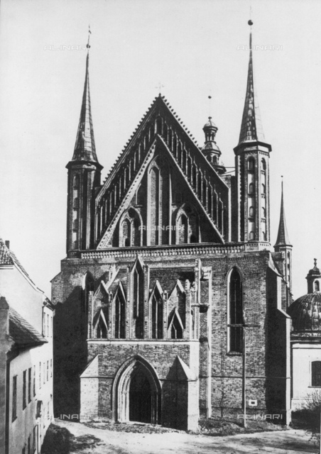 "The gothic Frombork Cathedral (built from 1329 to 1388) where was buried the celebrated polish astronomer NIKOLAJ KOPERNIK (Nicola COPERNICO-Thorn 1473-Frauenberg 1543)-theorist of Heliocentric Cosmology, writer of study""De Revolutionibus Orbium Coelestium"" (1543)"