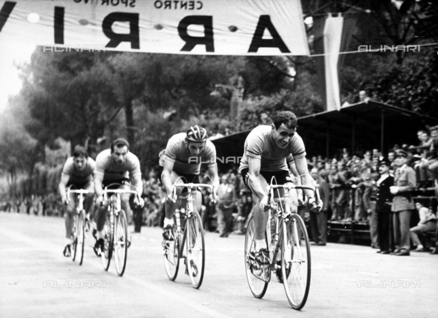 Cyclists crossing the finish line