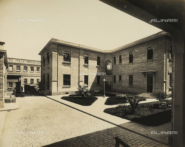 Activities of the Italians abroad. Italo-Brazilian silk mill in Sà£o Paulo, Brazil: the back side of the central administration building