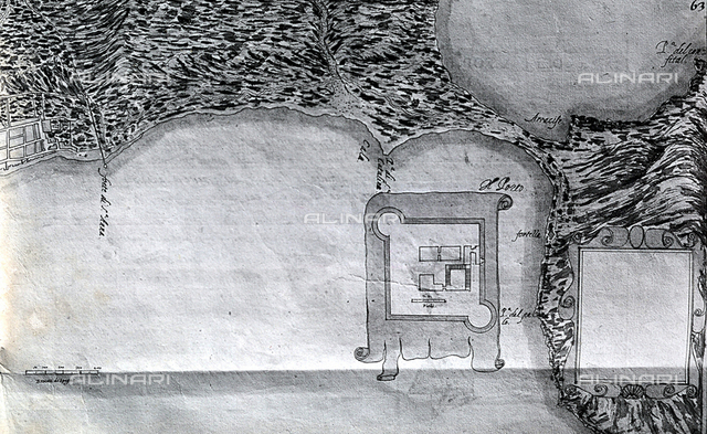 Map of the port of Santa Catalina on Grand Canary, in the Canary Islands. The drawing is taken from a manuscript of Leonardo Torriano