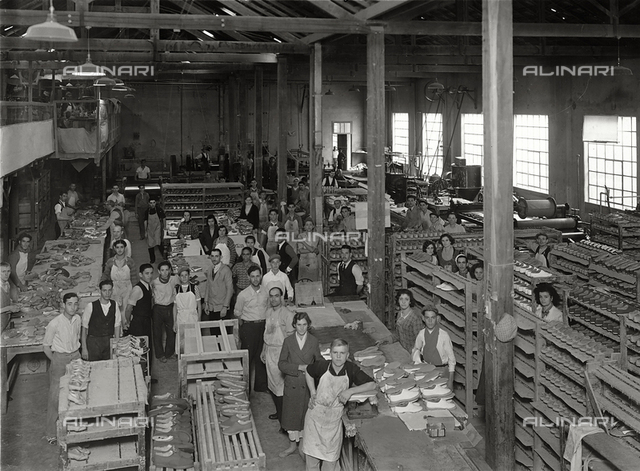 Italians working abroad. The Renzo Bertello footwear plant in Sao Paolo, Brazil: workers in the assembly department
