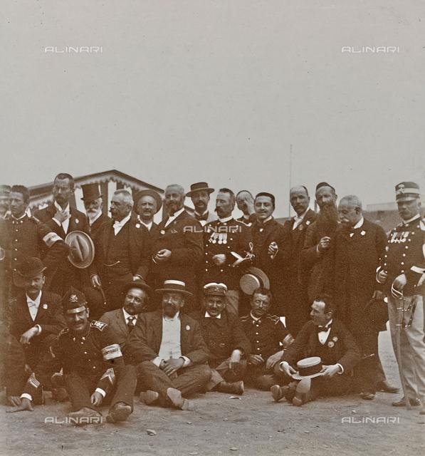 Group portrait of policemen members of the Sezione controllo in Martinetto Turin