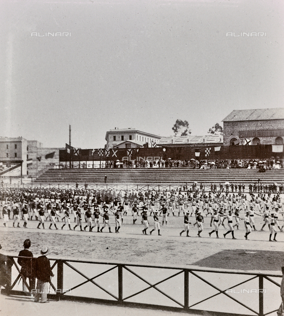 Italian and German gymnasts during an exercise in the presence of the Sovereigns, Velodrome, Rome