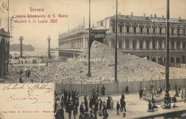 The rubble of the Bell tower of the Basilica of S. Marco, collapsed on 14 July 1902 in Piazza S. Marco, Venice