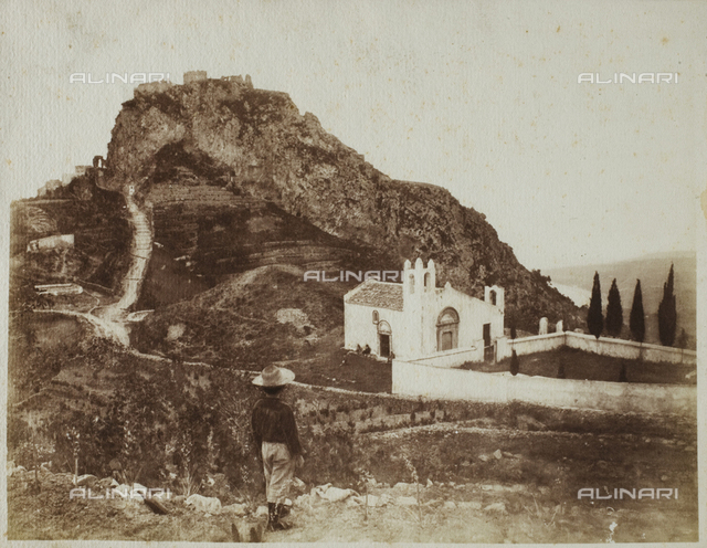 View of a rocky landscape with a church