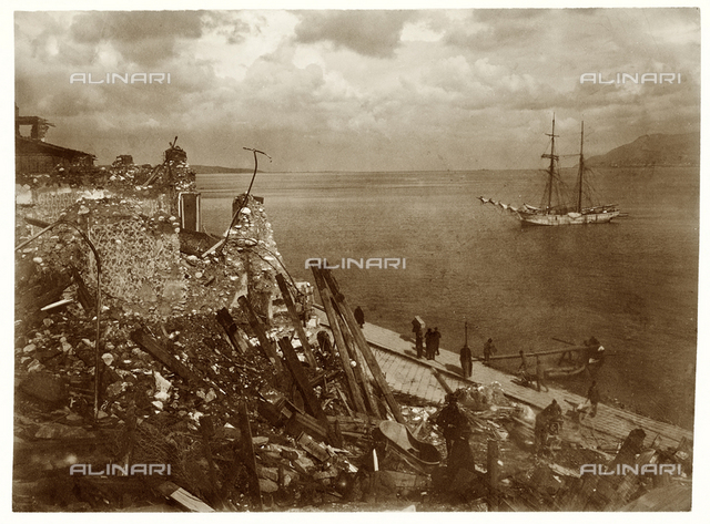 Ruins of the American Consulate in Messina, destroyed by the sismic catastrophe of 1908