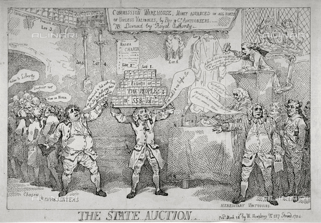 The State Auction', 1784. William Pitt the Younger, as an auctioneer, disposing of British liberties in the House of Commons. Henry Dundas, Viscount Melville, as a porter, is holding up Lot 1, inscribed Rights of the People in 558 vol.  A Foxite satire on the struggle between Charles James Fox and Pitt, London Metropolitan Archives, London