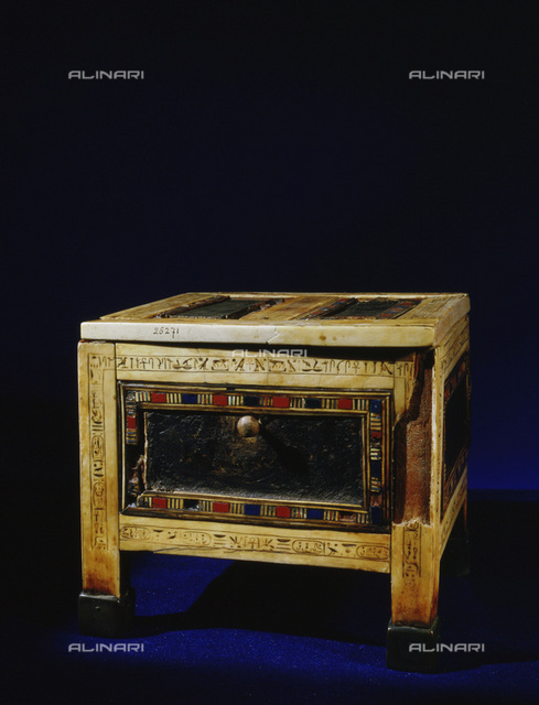 Inlaid ivory panelled casket from the reign of Rameses IX, 20th Dynasty, Ancient Egypt, c1124-1105 BC. One of numerous items moved by the priests of Amun in the 21st dynasty for protection from thieves. From the Egyptian Museum, Cairo