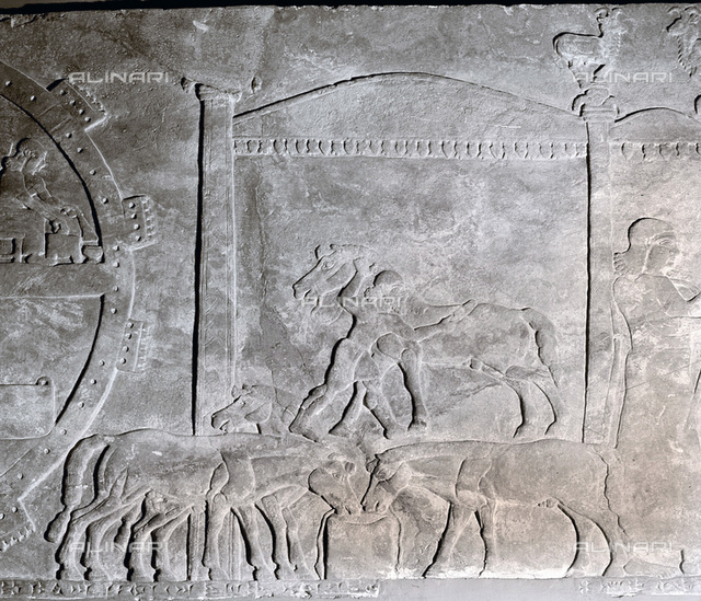 Detail of a relief showing the stables at the camp of Ashurnasirpal II, Assyrian, 883-859 BC. From the throne room of the North-west Palace at Nimrud, Iraq. From the British Museum, London