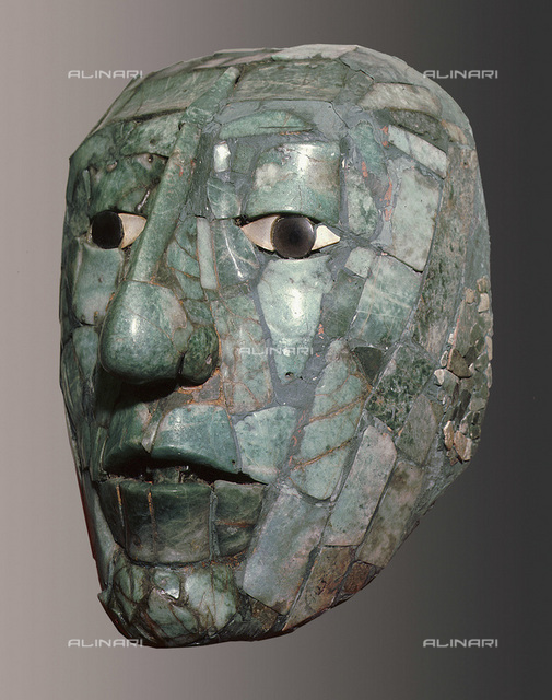 The jade burial mask of Pacal, Mayan, Palenque, Mexico, c683. Found in the Temple of the Inscriptions at Palenque. Pacal the Great (603-683) ruled Palenque from 615 until his death. From the National Museum of Anthropology, Mexico City