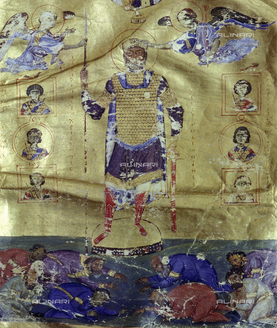 Frontispiece of a psalter, Byzantine, 1017-1025. Showing the war-like emperor Basil II dominant over the prostrate figures of conquered Bulgarians. Christ lends divine support and angels and warrior saints give protection. Basil defeated the Bulgarians at the Battle of Kleidion in 1014, capturing 15,000 prisoners. According to legend he blinded 99 out of every 100, leaving 150 with their sight intact to lead the others home. From the Biblioteca Nazionale, Venice