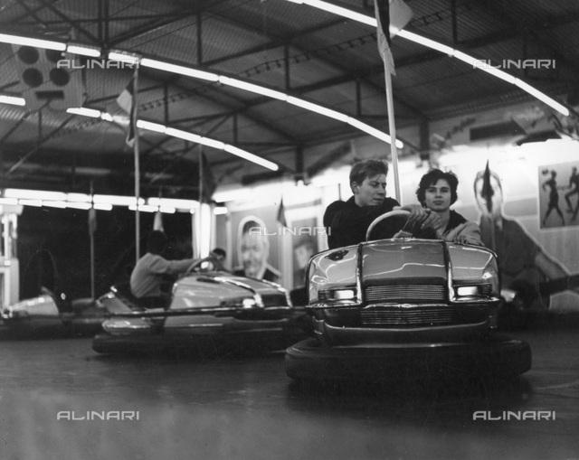 Couple on dodgems, 1960.