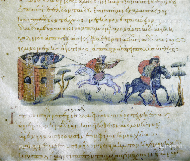 A detail from the Cynegetica of Pseudo-Oppian, Byzantine, Venice, 11th century. Codex 479. From the Biblioteca Nazionale Marciana, Venice
