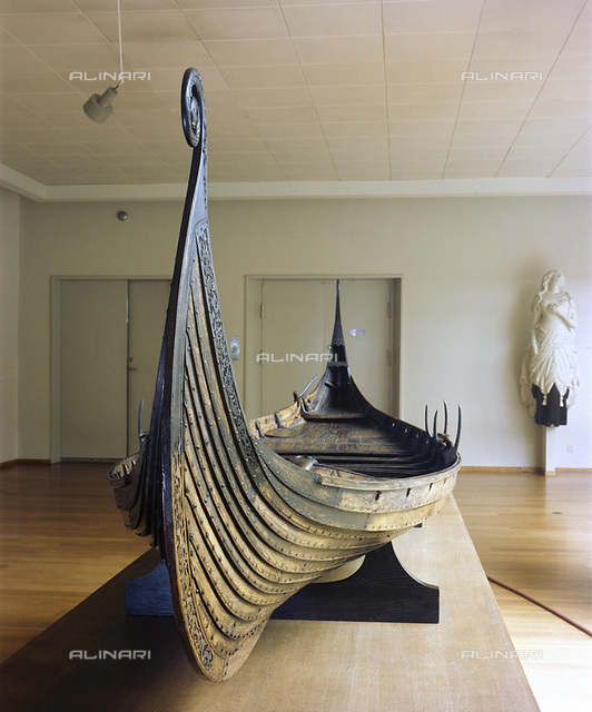 Model of the Oseberg Ship, Viking, Norway. Built form oak, the Oseberg ship, which was found in a large burial mound, was probably built in the early 9th century and buried in 834. It was excavated by Norwegian and Swedish archaeologists in 1904-1905. From the Bergen Maritime Museum
