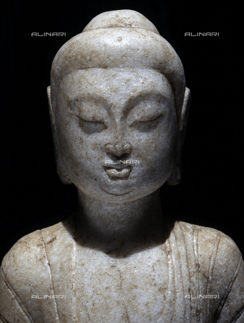 Marble fragment of a statue of Buddha, China, Song dynasty, 960-1279. From a private collection, London