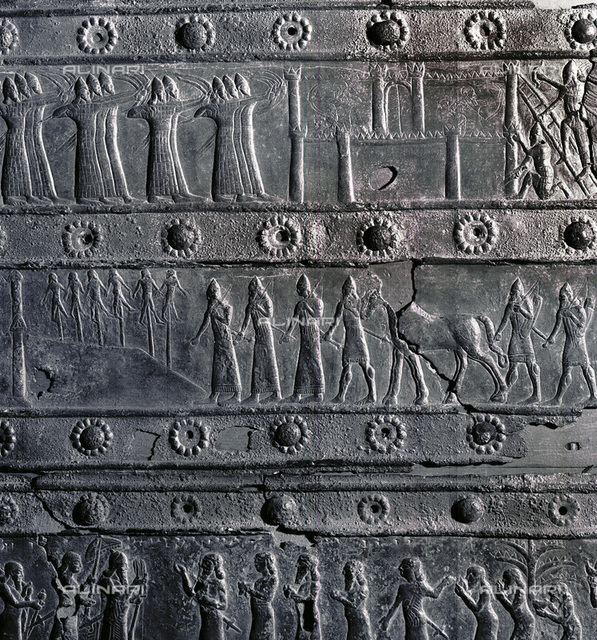 Bronze relief decoration from the gates of Shalmaneser III, from Balawat, Iraq, Assyrian, c853 BC. The detail depicts executed prisoners taken during the capture by the Assyrians of the stronghold of Dabigu near Til-Barsip, now Tall al-Ahmar, in 858 BC. Til-Barsip was the capital of the Bit-Adini Aramaean kingdom in north-eastern Syria. From the British Museum, London
