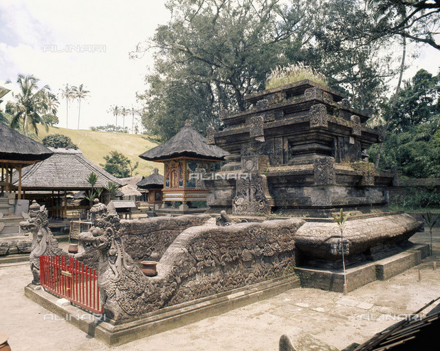 Shrine guarded by sacred snakes, naga. Temple of Tirta Empul, site of a sacred spring in use since 962 AD. According to legend the god Indra created the spring by piercing the earth to tap the elixir of immortality.  Country of Origin: Indonesia. Culture: Balinese/Hindu. Date/Period: circa 14th C. Place of Origin: Tampaksiring, Bali.