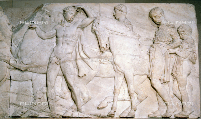 Slab from the north frieze of the Parthenon. Youths ready to mount. (slab XLII). Country of Origin: Greece. Culture: Ancient Greek. Date/Period: 445-440 BC. Place of Origin: Athens. Material Size: marble. British Museum, London