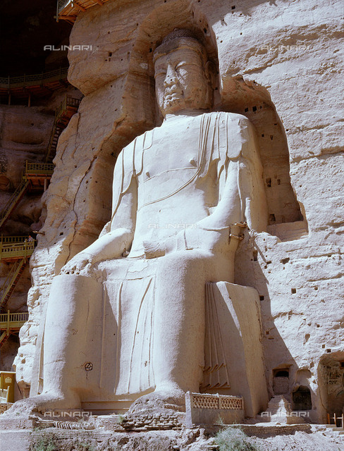 Binling Temple caves.  There are 183 caves and shrines with 697 stone Buddha statues. The statues range in date from the Northern Wei to the Ming dynasty. Country of Origin: China. Place of Origin: near Linxi, 120 km southwest of Lanzhou, W. Gansu province.