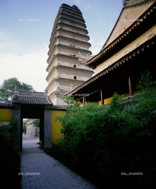 The Lesser Goose Pagoda located to the south of the present city wall of  Xian. Built in 706 in the grounds of the Da Qing Fu temple. Country of Origin: China. Culture: Tang dynasty. Place of Origin: Xian.