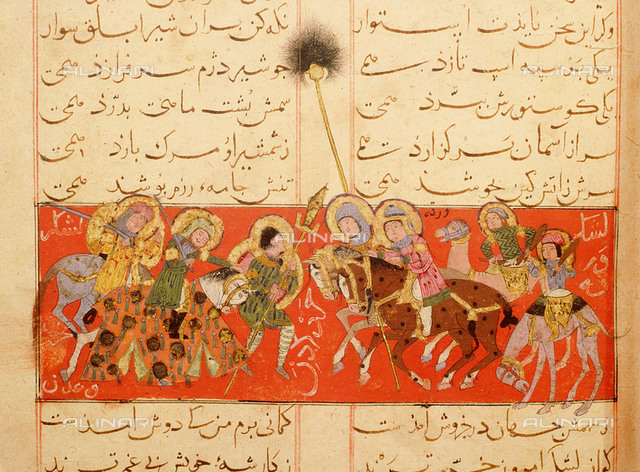 Scene from the only known illustrated manuscript of the poem, the Romance of Varqa and Gulshah, by Urwa b.Huzam al-'Udhri, paintings by Abd al Mu'min al Khuwayyi. The army of Varqa with standard bearer and drummers.  Culture: Islamic. Date/Period: c. 1250 AD. Place of Origin: Konya (), Turkey. Topkapi Saray Museum, Istanbul MS Hazine 841