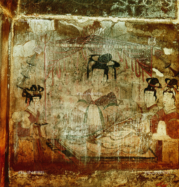 A wall painting from the tomb of Dong Shou, Anak. (Tomb 3). A noblewoman with her serving maids. Country of Origin: Korea. Culture: Korean, 4th century, 3 Kingdoms Period. Place of Origin: Koguryo.