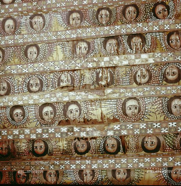 Painted ceiling at the church of Debra Berhan, Gondar. Country of Origin: Ethiopia. Culture: Coptic, 18th C. Place of Origin: Gondar.
