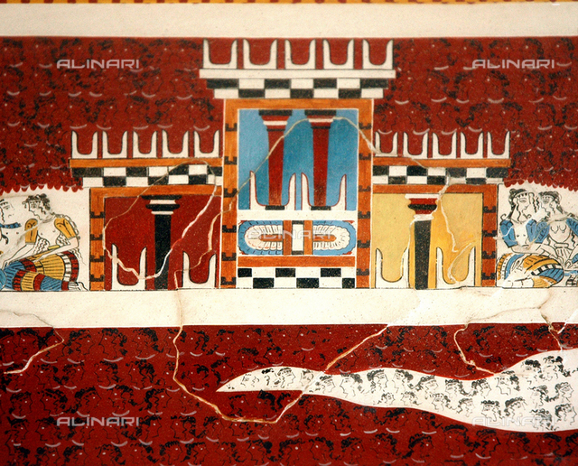 Detail of the Grandstand Fresco depicting a tripartite shrine crowned with bull's horns. Country of Origin: Greece. Culture: Minoan, Late Bronze Age c. 1500 BC. Place of Origin: Crete.