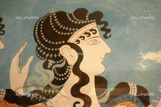 Detail of one of the Blue Ladies. Country of Origin: Greece. Culture: Minoan, Late Bronze Age c. 1500 BC. Place of Origin: Crete.
