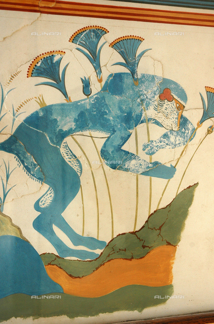 The Blue Monkey fresco from the House of the Frescoes. Country of Origin: Greece. Culture: Minoan, Late Bronze Age c. 1550 BC. Place of Origin: Knossos, Crete.