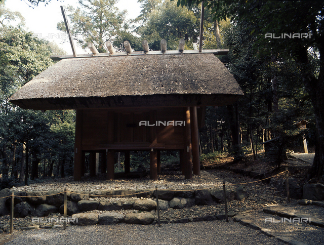 Ritual storehouse in the grounds of the main sanctuary of the Inner Shrine at Ise. Country of Origin: Japan. Culture: Shinto. Place of Origin: Ise.