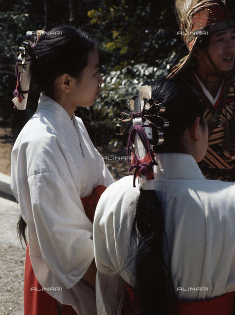 Brides of the Shrine. Ise.  Country of Origin: Japan. Culture: Shinto, 1975. Place of Origin: Ise.