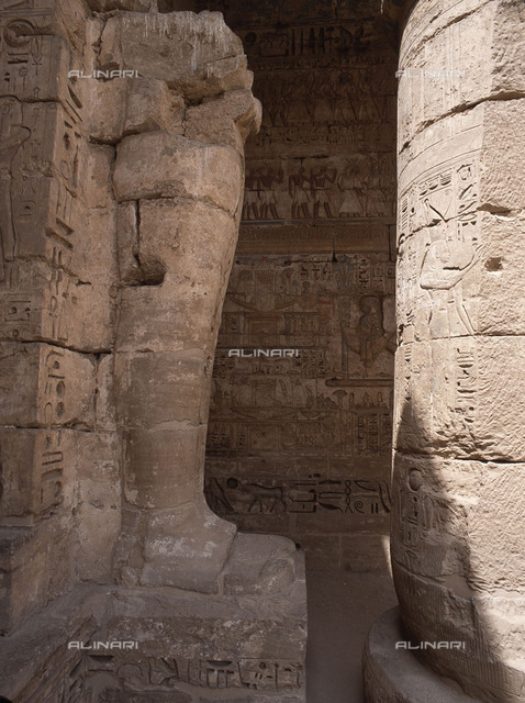The mortuary temple of Ramesses III at Medinet Habu. The temple contains approximately 75,000 square feet of wall reliefs. Country of Origin: Ancient Egypt Culture: Ancient Egyptian Date/Period: New Kingdom, 20th Dynasty, 1182 - 1151 BC. Place of Origin:Western Thebes.
