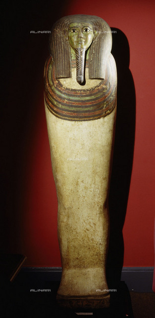 Mummiform coffin of Horankh, attributed to a funerary workshop at Heracleopolis Magna in the Fayum. The restrained simplicity of the style reflects the influence of much earlier Middle Kingdom coffins during the 25th Dynasty. Country of Origin: Egypt. Culture: Ancient Egyptian, Late Period,25th Dynasty,c.716-664BC. Place of Origin: Fayum. Material Size: Inlaid, gessoed and painted wood. Dallas Museum of Art