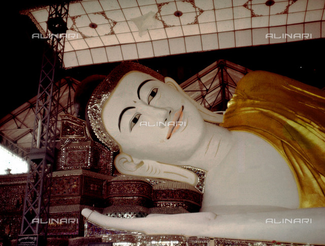 The Shwelthalyaung Buddha, the second largest in Buddha in the world. Country of Origin: Myanmar. Culture: Buddhist. Period Date: 994 AD, reign of King Migadepa. Material/ Size: 55 x 16 m. Place of Origin: Bago.
