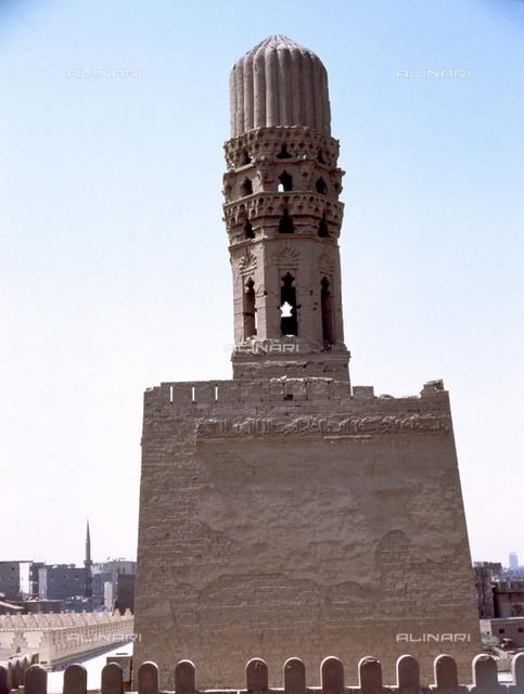 The northern minaret of Al-Hakem Biamrellah Mosque, the earliest surviving minarets in Islamic Cairo. Country of Origin: Egypt. Culture: Islamic. Period/ Date: Fatimid, 989-1021 AD. Place of Origin: Cairo