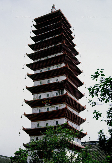 The Sheli pagoda at the Baoguangsi (Divine Light) monastery 18 km north of Chengdu at Xindu.The pagoda has 13 storeys. Country of Origin: China. Culture: Tang dynasty, Built in 880. Place of Origin: Near Chengdu, Sichuan province. Material Size: 30 metres high