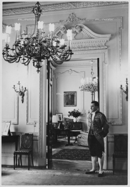 Ante-room and doorway into the drawing room, British Embassy, 70 Wilhelmstrasse, Berlin, Germany, 1939. The Palais Strousberg, designed by August Orth, dated from 1867-1868. The British government purchased it as an Embassy in 1884. Photographed here before the outbreak of World War II, the building was demolished in 1950