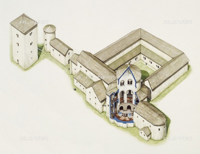 Late Saxon church, St Augustine's Abbey, Canterbury, Kent, late 20th or early 21st century. Reconstruction drawing